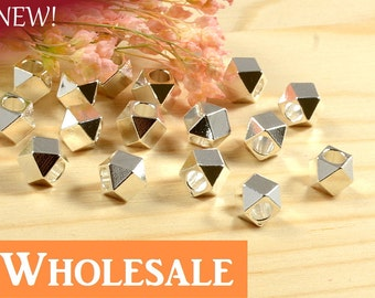 Faceted Spacer, 5mm, Silver Plating, Tarnish Resist, Lead Free, Diamond Cut Bead, Solid Brass Bead, 2.6mm Hole, WHOLESALE - 100 PCS/order