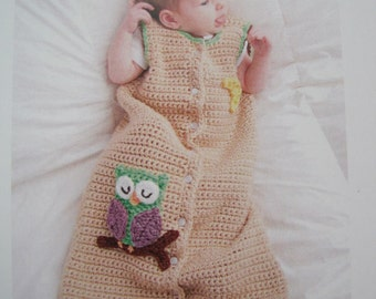 Crochet Leaflet - Sweet Dreams - Baby Owl Sack - Sizes Newborn to 9 months