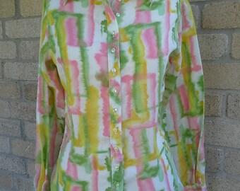 90's Pastel Watercolor Springtime Summer Blouse Sz M