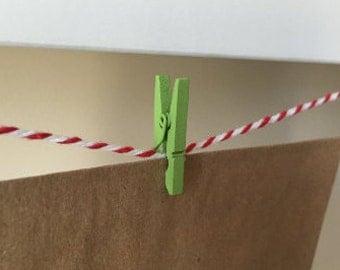 Mini Clothes Pegs - 24 Green Mini Clothes Pins - Wooden Mini Clips