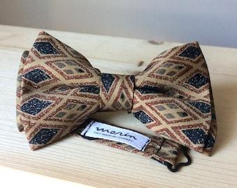 Bowtie -light brown silk with tribal pattern - pre-tied - unique bow tie - vintage gentleman
