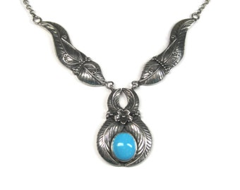 Vintage Sterling Southwestern Turquoise Feather Necklace 18 Inches