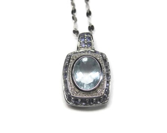 Vintage 10K Aquamarine Tanzanite Pendant Necklace