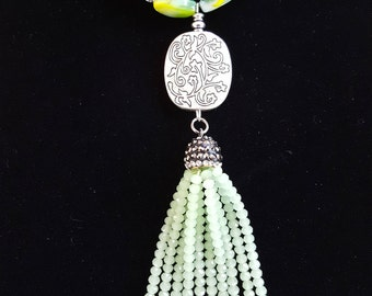 Pale Green Tassel Necklace