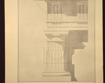 Column Print Detail Antique Doric Greek Architectural Book
