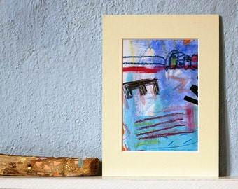 small artwork, made with mixed media on paper, bluecolored,