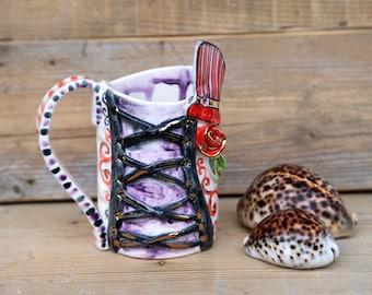 gothic burlesque ceramic mug, circus inspired coffee cup