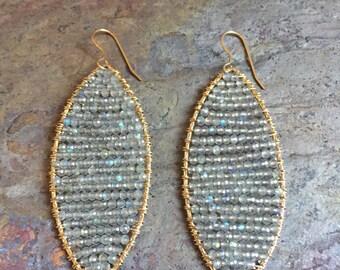 Labradorite gemstonel gold hoop statement earrings
