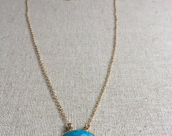 Turquoise gemstone pendant gold necklace