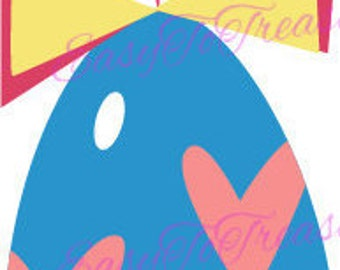 Digital Download Clipart – Spring Easter Egg Ornament Blue with Hot Pink Hearts JPEG and PNG files