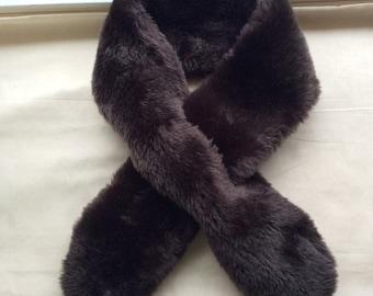 Neat Faux fur collar, brown faux fur collar. brown faux fur tippet, scarf.