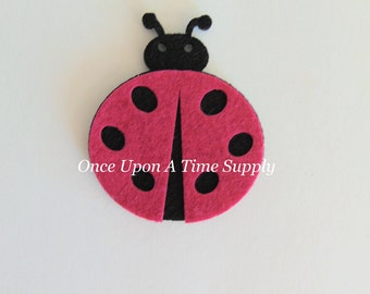 Hot Pink Black Felt Ladybug - 2.75 Inch Boutique Hair Bow Making Flower Hairbow Centers - Craft Embellishment Patch Scrapbooking Suppy