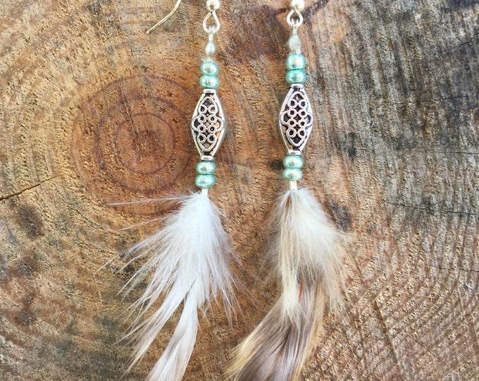 Handmade Boho Earrings, Feather, Tribal, Gypsy, Coachella, Festival, Western, Native, Celebrity, Unique (Pretty Little Feather Earrings)