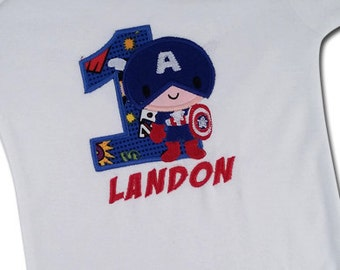Superhero Birthday Shirt with American Shield, Number and Name