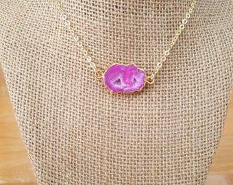 Hot Pink Agate Druzy Slice Necklace on a 14K Gold Filled Chain // Boho necklace // Boho Luxe Jewelry // Pink Druzy // Sparkly Agate Necklace