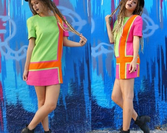 Vintage 60s rare neon color block mini dress