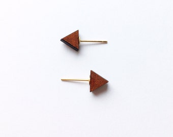 Triangle Wooden Earrings - Wooden earrings - Fashion earrings - Triangle earrings - Post earrings - Stud earrings - Minimalist earrings