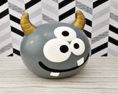 Gray and Gold Monster Piggy Bank, Monster Piggy Bank, Piggy Bank, Bank, Baby Bank, Personalized Piggy Bank, Monster Nursery, Baby Gift
