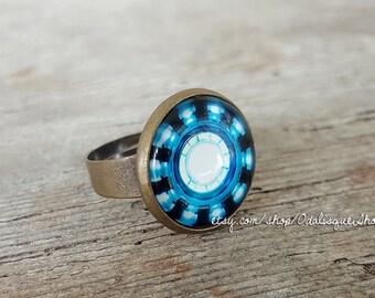 Iron Man Ring Arc Reactor Adjustable Ring Tony Stark Armor Suit Bronze ring Avengers Blue Power 1/2'' half inch 16mm