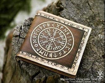 Vegvisir Viking Compass Norse Viking bifold leather wallet