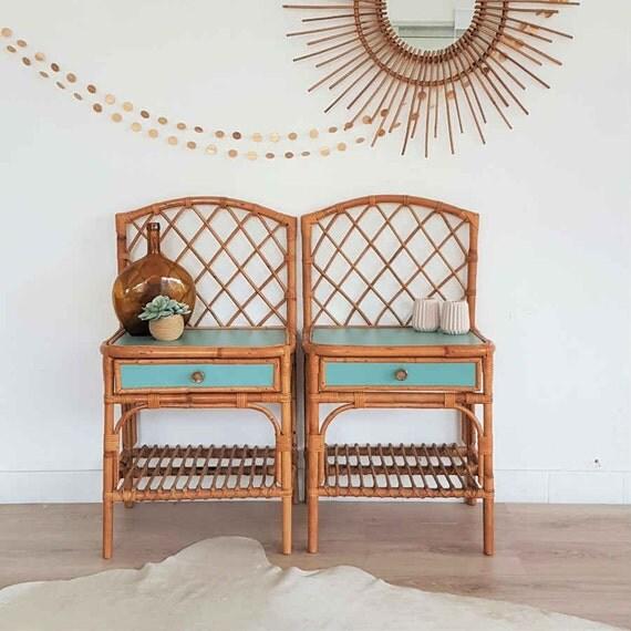 chevets rotin table de nuit vintage paire de chevets rotin. Black Bedroom Furniture Sets. Home Design Ideas