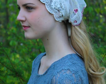 Evintage Veils~ St. Therese Little Flower& Lace Vintage-Inspired Headband Kerchief Tie-style Head Covering Church Veil