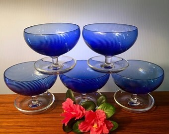 Set of five elegant blue glass sherbet dishes with footed tray