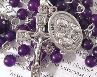 Saint Ann Catholic Rosary Catholic Rosaries St Rosary Silver Rosary Purple Rosary Saint Anne Confirmation Gift