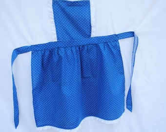 Blue Bib-style Apron with White Eyelet Trim