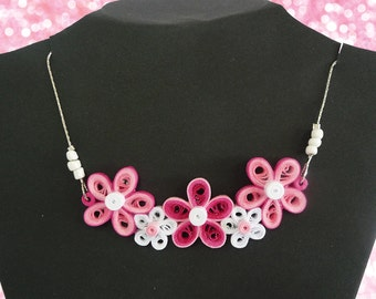 Floral Pink Quilled Necklace Quilling Kit / Floral Quilling