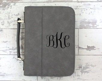 Bible Cover Grey Leather Bible Cover Personalized Bible Cover - Women's Monogrammed Bible Case - Christmas Gift - Confirmation Gift