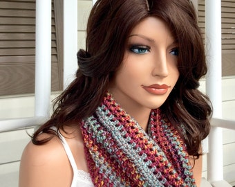 Warm Winter Crochet Cowl in Multiple Colors, Cozy Scarf in Earth Tones, Infinity Scarf for Women and Teens