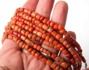 Old Berber coral bead strand from Morocco
