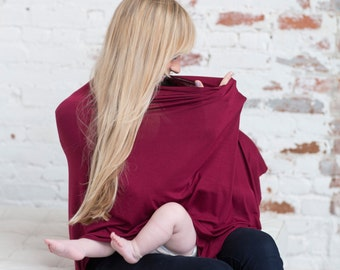 Cranberry Nursing Poncho Cover | Multi Functional Car Seat Cover And Nursing Cover Poncho
