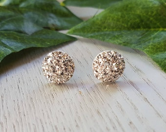 Gem Resin 12mm Button Stud Earrings - Hypo-Allergenic Surgical Steel