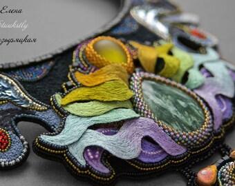 Magic flame embroidery stumpwork collar bib statement necklace