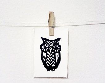 Teeny Tiny Owl Print: Original, Hand Printed Linoleum Block Print