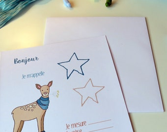 Baby announcement blue- For baby- With a doe- Blue and beige- With star- Blue star- To announce the birth of baby- For baby-