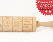 Rolling Pin engraved HAPPY VALENTINES  - embossing rolling pin, laser engraved rolling pin. <3 Valentines gift