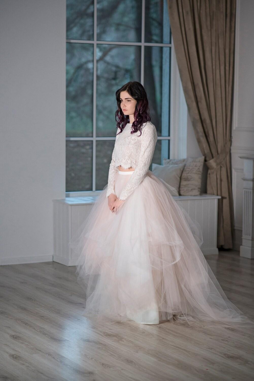 magnolia whimsical wedding dress crop crop top wedding dress Magnolia whimsical wedding dress crop top wedding dress original wedding dress fairy wedding dress blush wedding dress