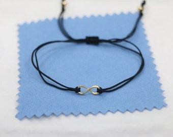 tiny brass gold infinity bracelet,black cord string bracelet,handmade friendship woven bracelet,thin simple bracelet,delicate bracelet gift