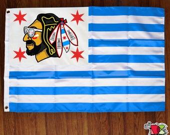 Chicago Blackhawks Flag | Modified American Flag | Flag Banner | Wall Art | Chicago Flag | Hawks Flag | Chi-town | Hockey Flag | Wall Art