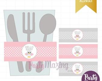 Owl Napkin Rings,  Pink Owl Baby Shower, Pink It's a Girl ,Printable Napkin Rings , DIY Printable, Instant download -D283 BBOP1