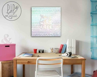 young wild free, college student gift, bohemian art, college dorm decor, dorm room art, canvas wall art, dorm wall art, canvas art prints