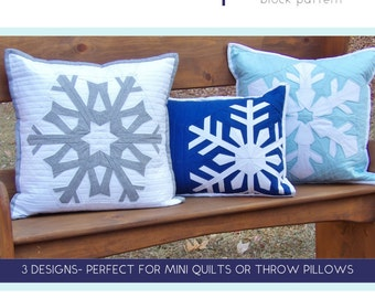 """Snowfall PDF Pattern - 3 Paper Pieced Snowflake Blocks - Winter Throw Pillow or Mini Quilt Pattern - 16"""" Square Pillow and Lumbar Pillow"""