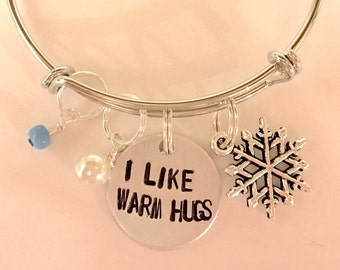 "Disney Frozen Inspired Hand-Stamped Bangle - ""I Like Warm Hugs"""