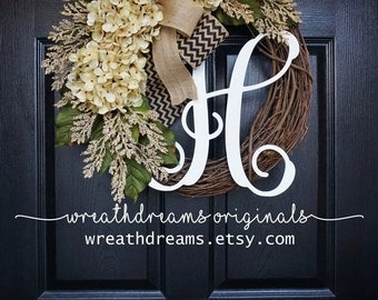 BEST SELLER! Antique White Hydrangea Wreath. Burlap Wreath. Year Round Wreath. Spring Wreath. Summer Wreath. Monogram Wreath. Door Wreath