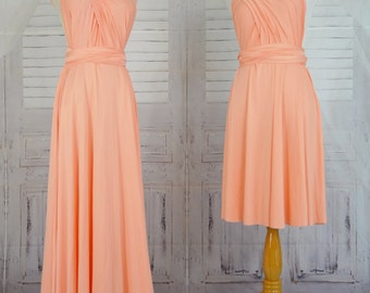 Sweet heart Wrap Convertible Infinity Dress Evening Dresses Peach Bridesmaid Dress-B30#C30#