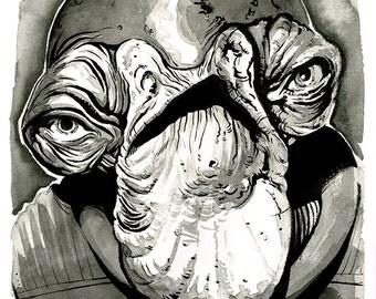 Star Wars - Rogue One - Rebel Admiral Raddus Mon Calamari original ink drawing