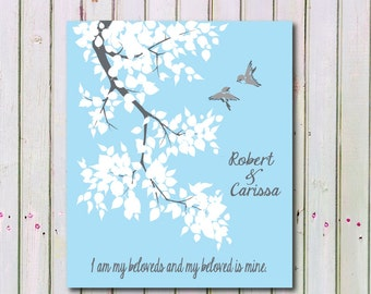 Personalized Wedding Tree Print, I am my beloveds and my beloved is mine Wedding Art Print Gift 260
